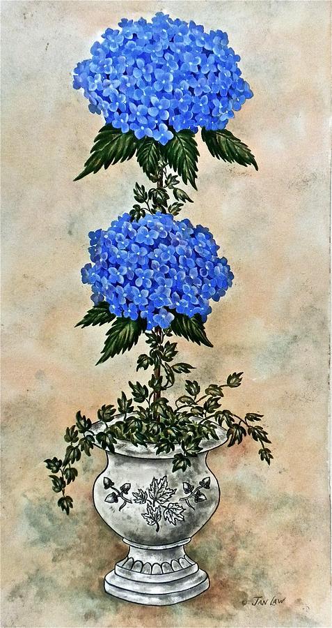 Blue Hydrangea Topiary II by Jan Law