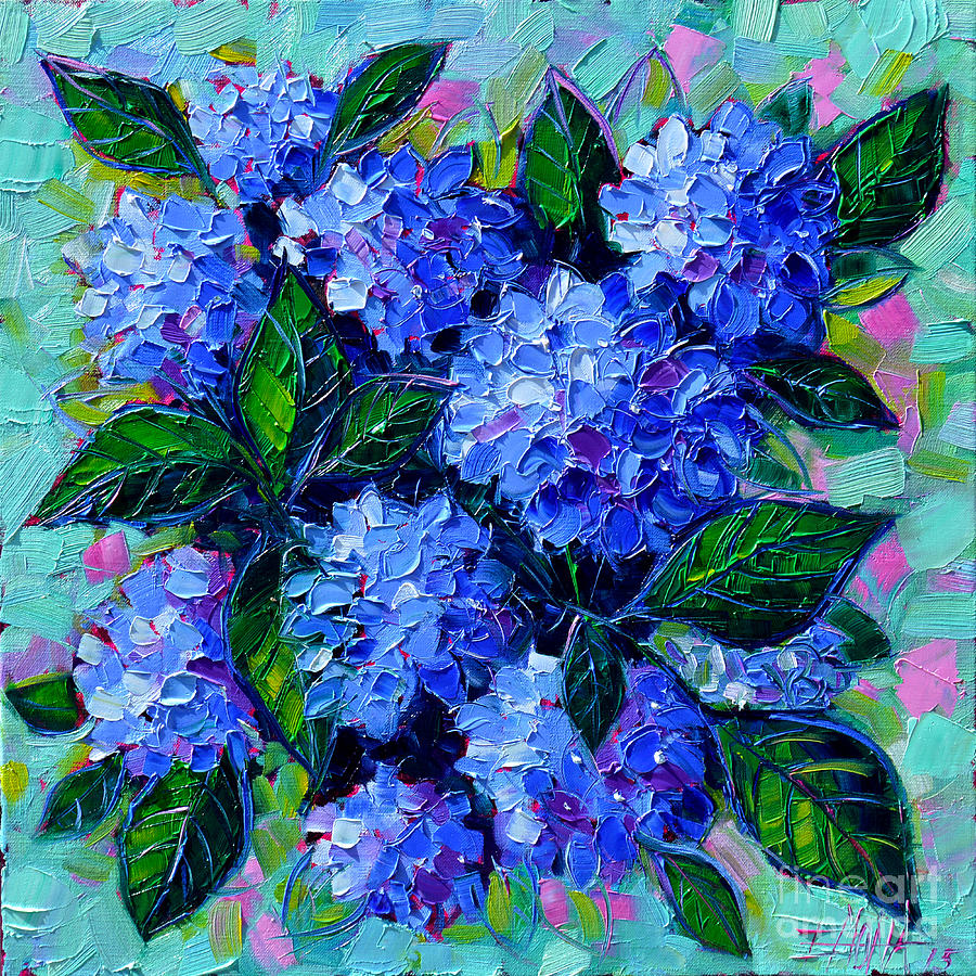 Blue Hydrangeas Painting - Blue Hydrangeas - Abstract Floral Composition by Mona Edulesco