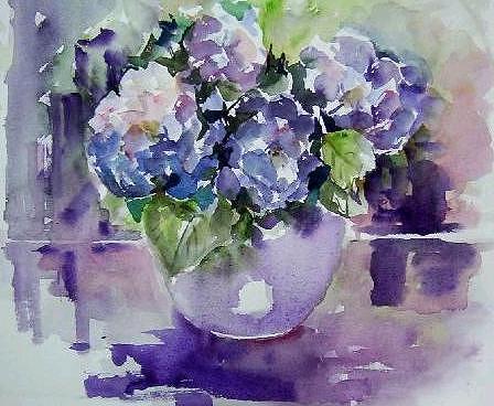 Paintings Painting - Blue Hydrangeas by Gilberte Vermeulen