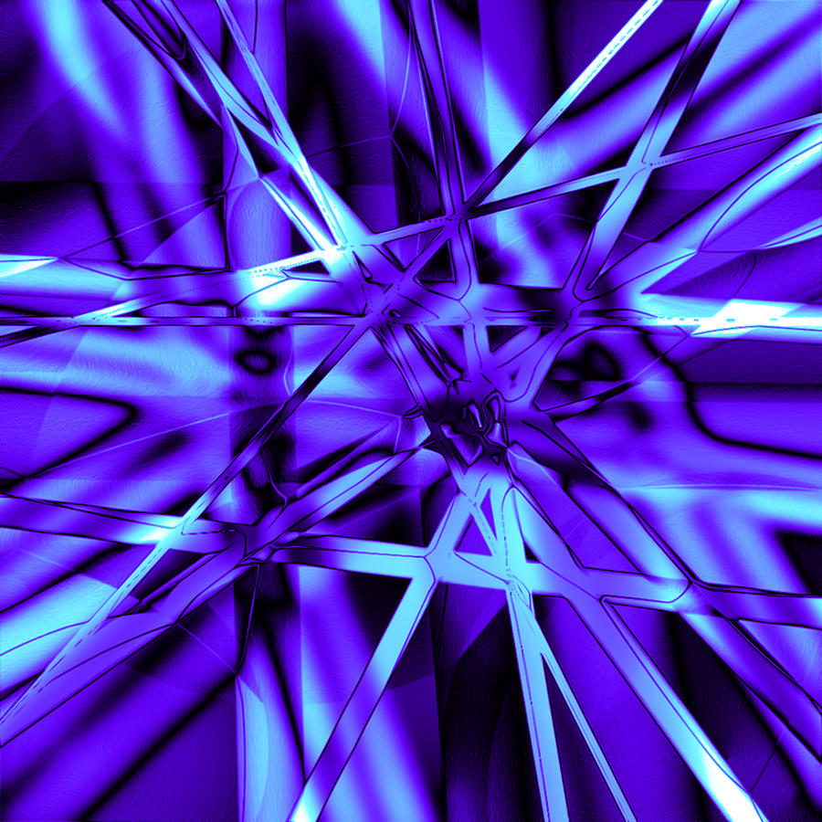 Abstract Digital Art - Blue Ice by Carl Perry