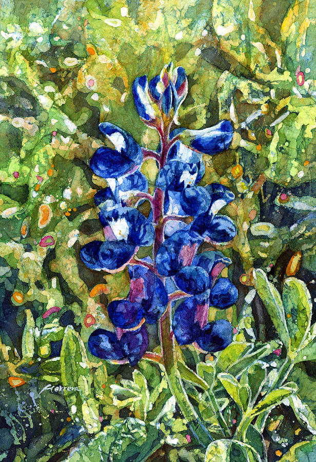Bluebonnet Painting - Blue In Bloom by Hailey E Herrera