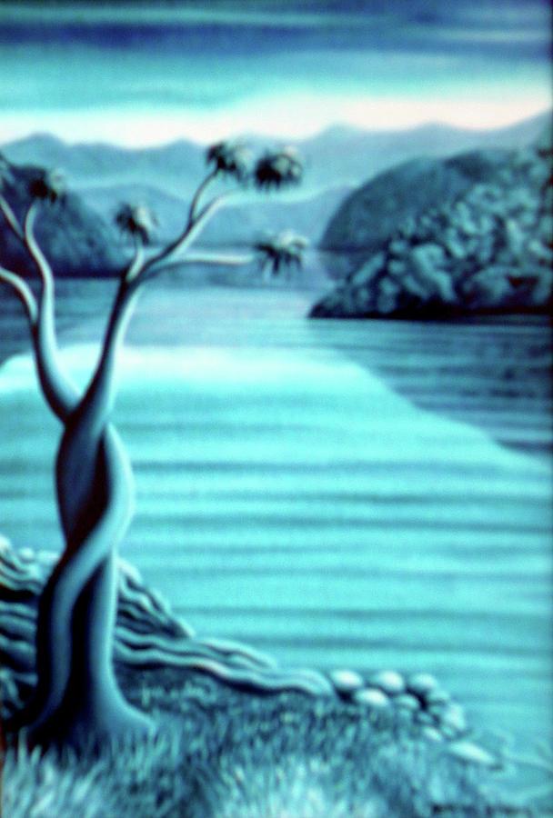 Landscape Painting - Blue In Marlborough Nz by Barbara Stirrup
