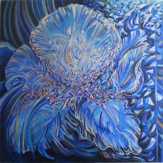 Abstract Painting - Blue Iris by Anastasia Ponyatovskaya