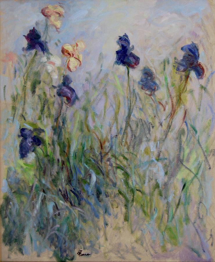 Blue Irises in the field, painted in the open air  by Pierre Dijk