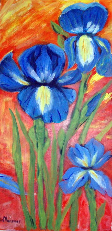 Flowers Painting - Blue Irises by Lia  Marsman