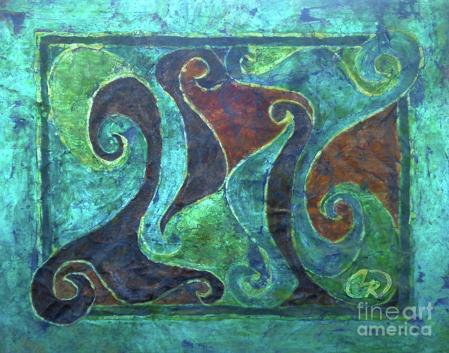 Batik Tapestry - Textile - Blue Island Curves by Lori Russell