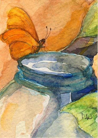blue jar and butterfly by Nancy Watson