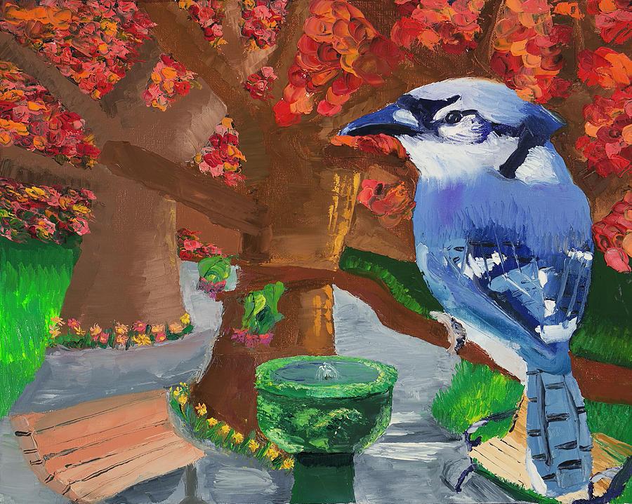 Blue Jay Painting - Blue Jay by Adina Groeschler