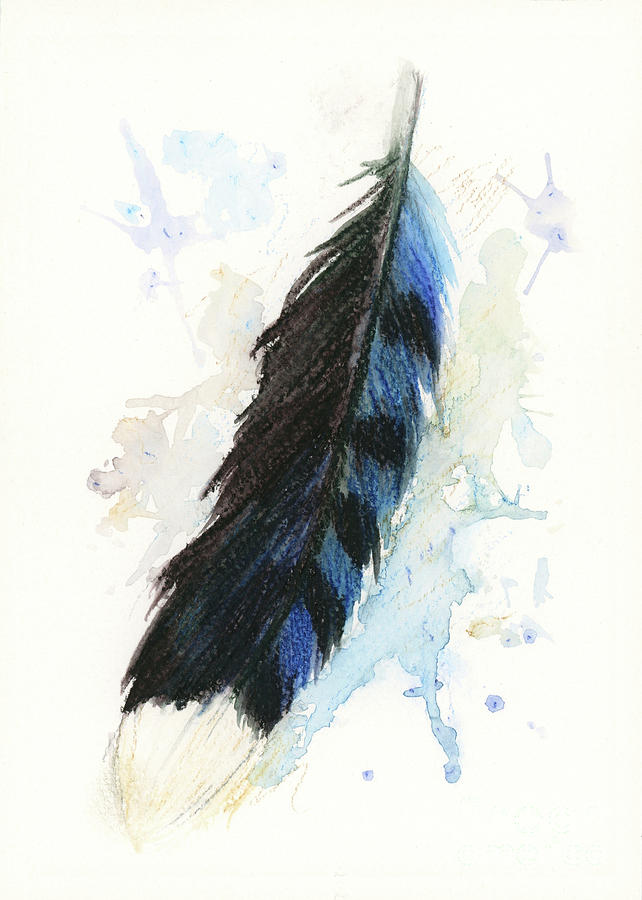 Watercolor Painting - Blue Jay Feather Splash by Brandy Woods