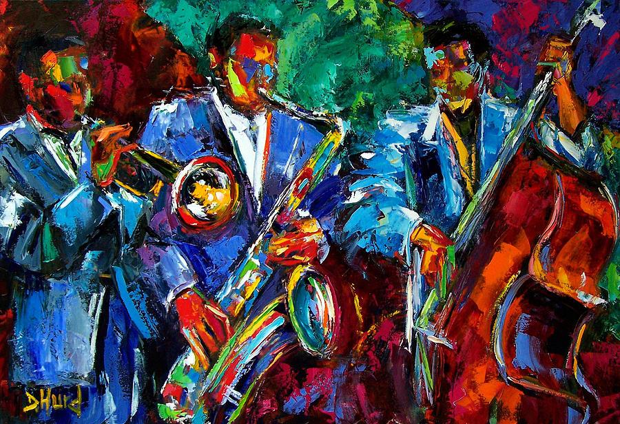 Texture Painting - Blue Jazz by Debra Hurd
