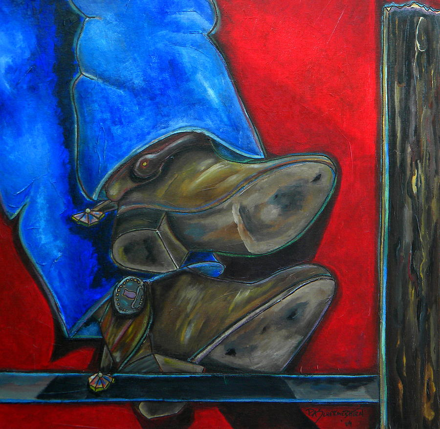 Cowboy Painting - Blue Jeans And Boots by Patti Schermerhorn