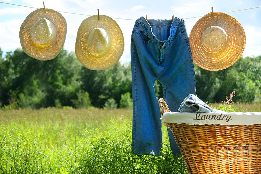 Blue Photograph - Blue Jeans And Straw Hats On Clothesline by Sandra Cunningham
