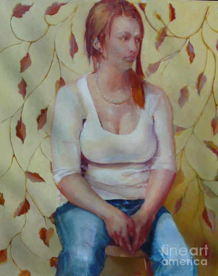 Young Woman Painting - Blue Jeans Girl              Copyrighted by Kathleen Hoekstra