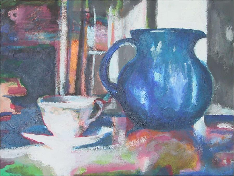 Still Life Painting - Blue Jug by Dominic Fetherston
