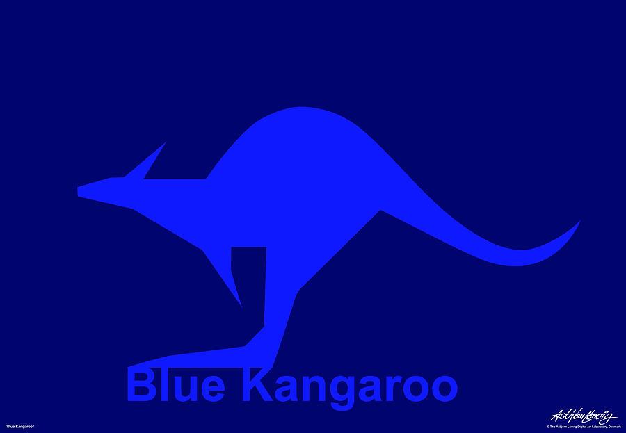 Blue Kangaroo Digital Art by Asbjorn Lonvig