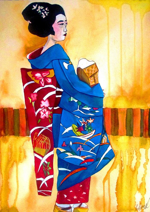 Kimono Painting - Blue Kimono 2 by Sacha Grossel
