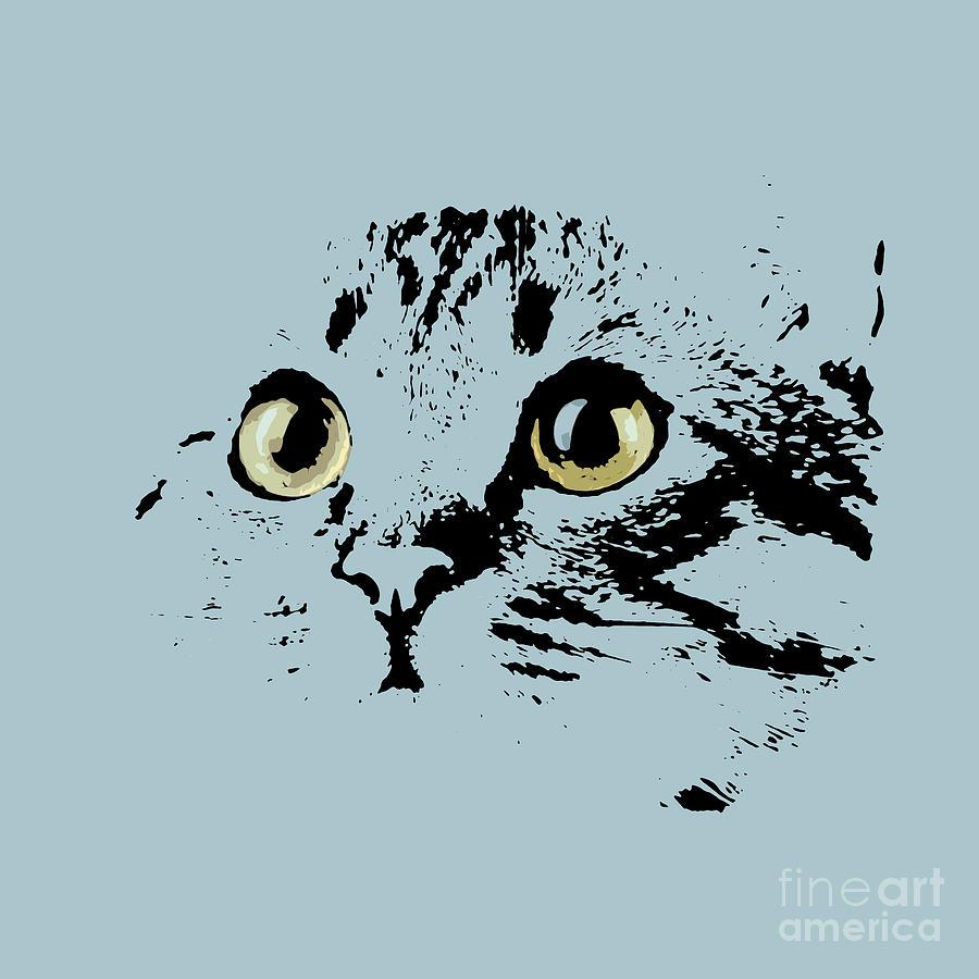 Kitten Digital Art - Blue Kitten Portrait by Drawspots Illustrations