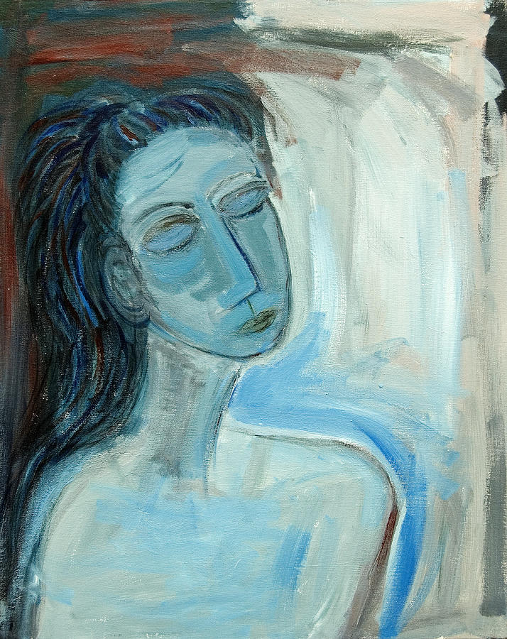 Nude Painting - Blue Lady Abstract by Maggis Art