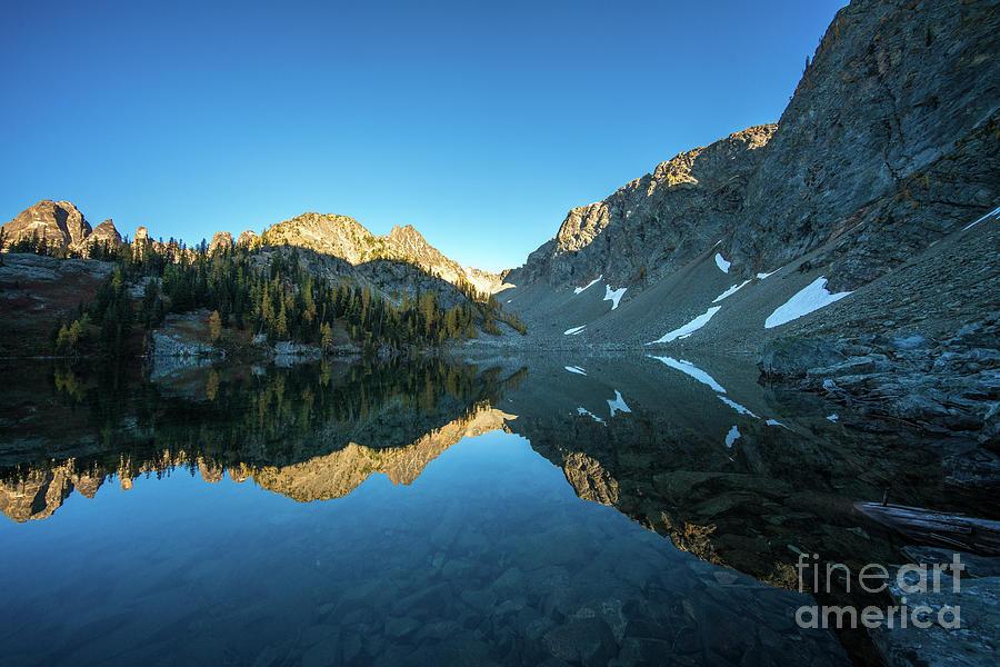 Enchantments Photograph - Blue Lake Alpenglow by Mike Reid
