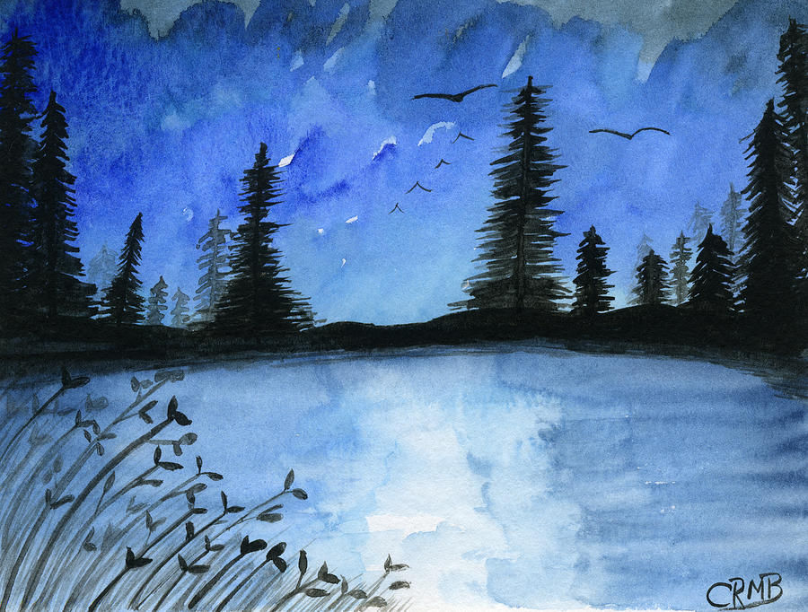 Blue Lake and Trees by Candace Bailly