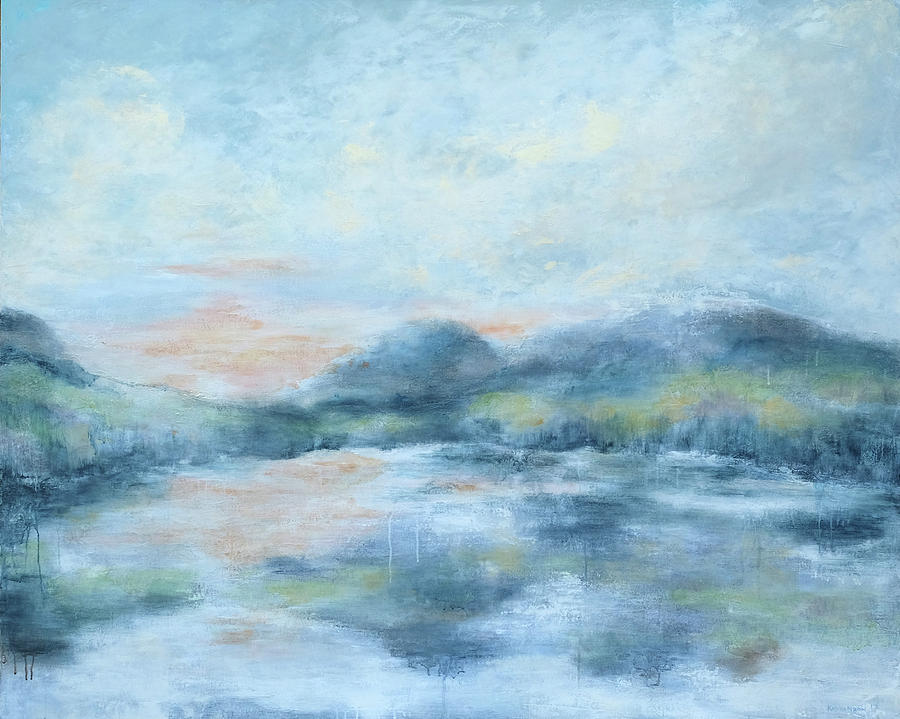 Abstract Painting - Blue Lake  by Katrina Nixon