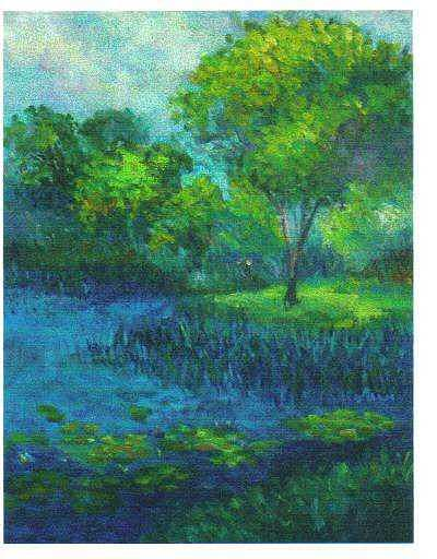 Blue Lake Painting by Martha Sterling Stroman