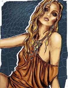 Fashion Illustration Digital Art - Blue by Lara Wolf