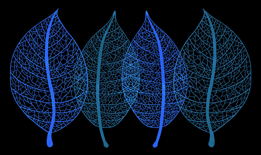 Blue Leaves Painting - Blue Leaves by Frank Tschakert