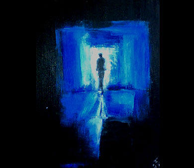 Figurative Abstract Painting - Blue Light by Talal Ghadban