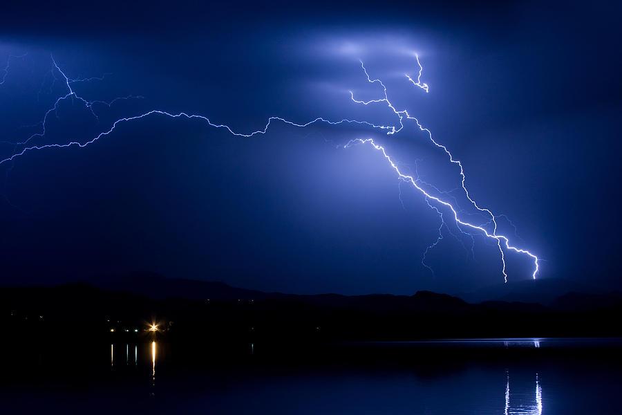 Lightning Photograph - Blue Lightning Sky Over Water by James BO  Insogna