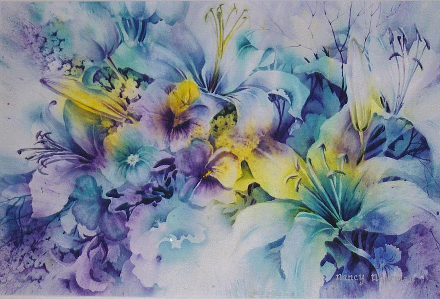 Lilies Painting - Blue-lilies by Nancy Newman