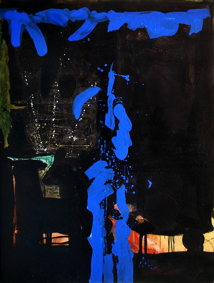 Abstract Painting - Blue Line by Vonitya Anand