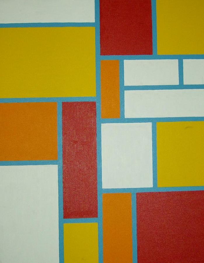 Mondrian Painting - Blue Lines by Mike Boast