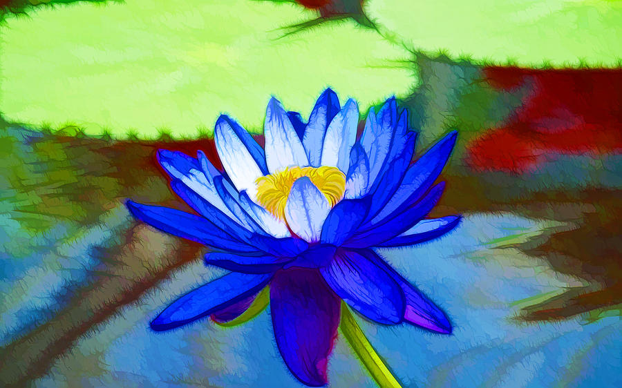 Blue lotus flower painting by jeelan clark blue lotus painting blue lotus flower by jeelan clark mightylinksfo