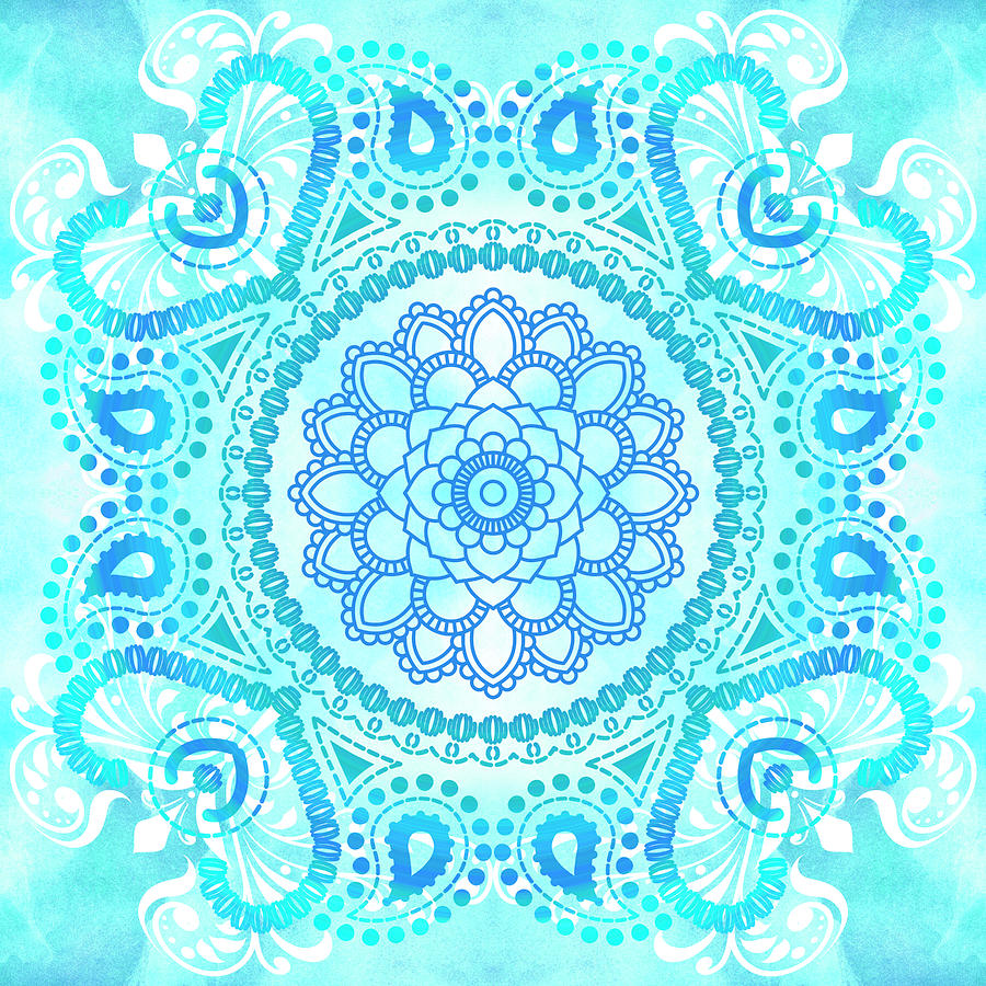 Blue Painting - Blue Lotus Mandala by Tammy Wetzel
