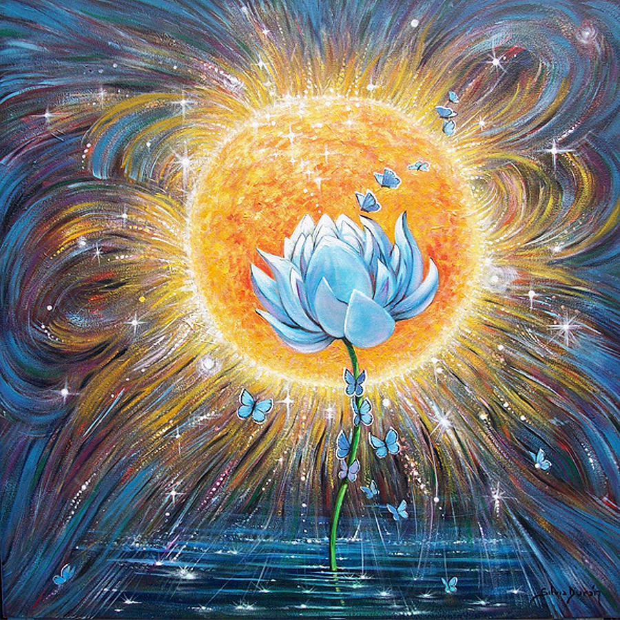 Blue Lotus Painting By Silvia Duran