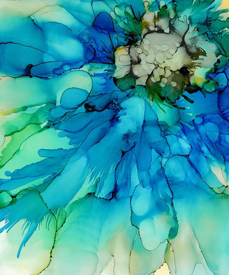 Abstract Painting - Blue Magnificence by Louise Adams