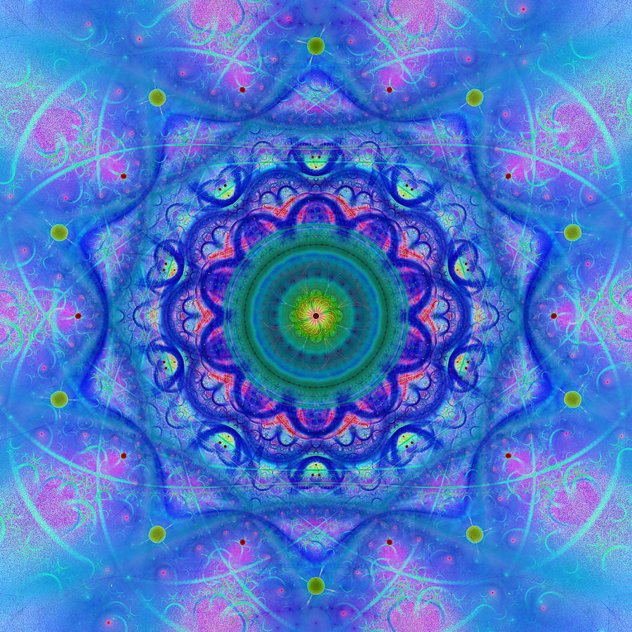 Blue Mandala For Heart Chakra Digital Art by Lenka Rottova