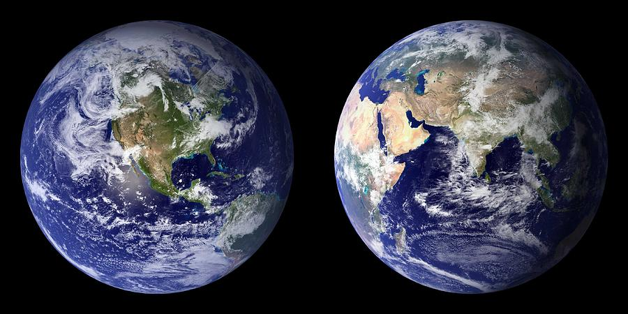 Earth Painting - Blue Marble Composite Images Generated By Nasa by Celestial Images