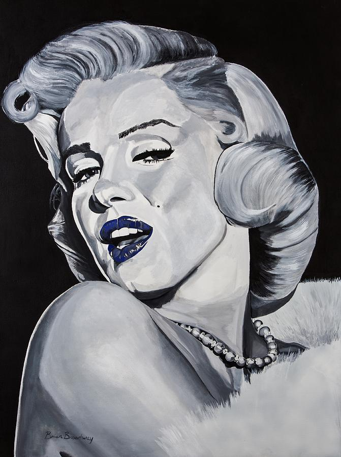 Marilyn Painting - Blue Marilyn  by Brian Broadway