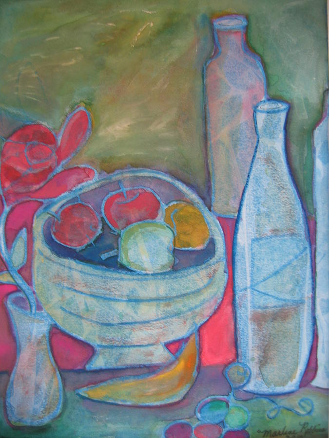 Still Life Painting - Blue by Marlene Robbins