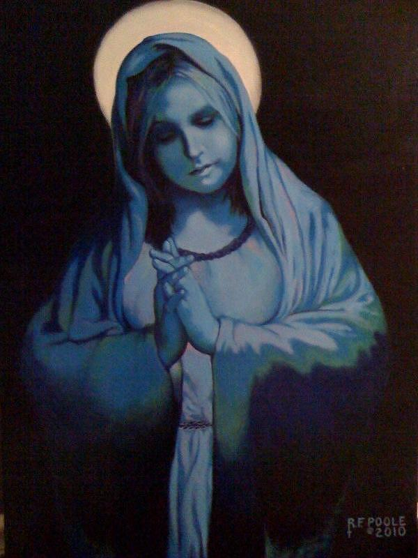 Virgin Mary Painting - Blue Mary by Rebecca Poole