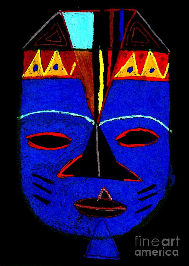 African Masks Pastel - Blue Mask by Angela L Walker