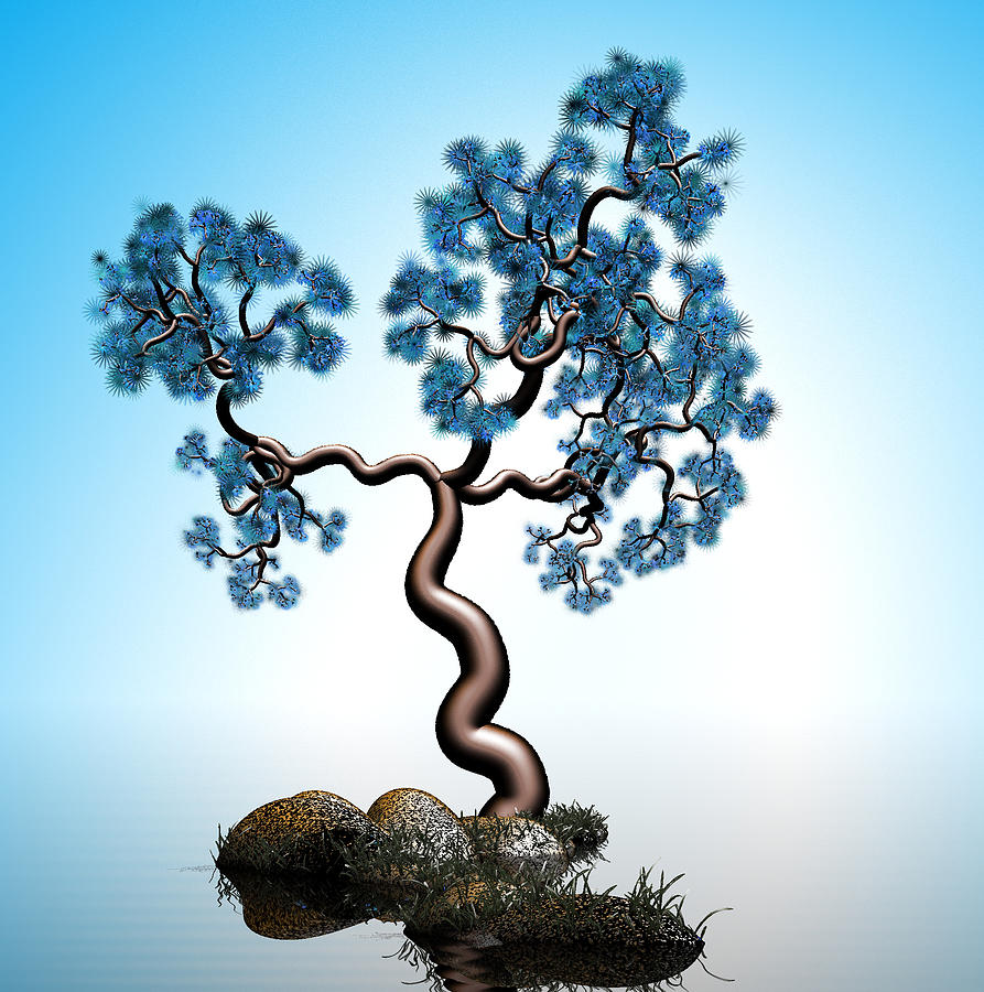 Digital Art - Blue Math  Tree 2 by GuoJun Pan