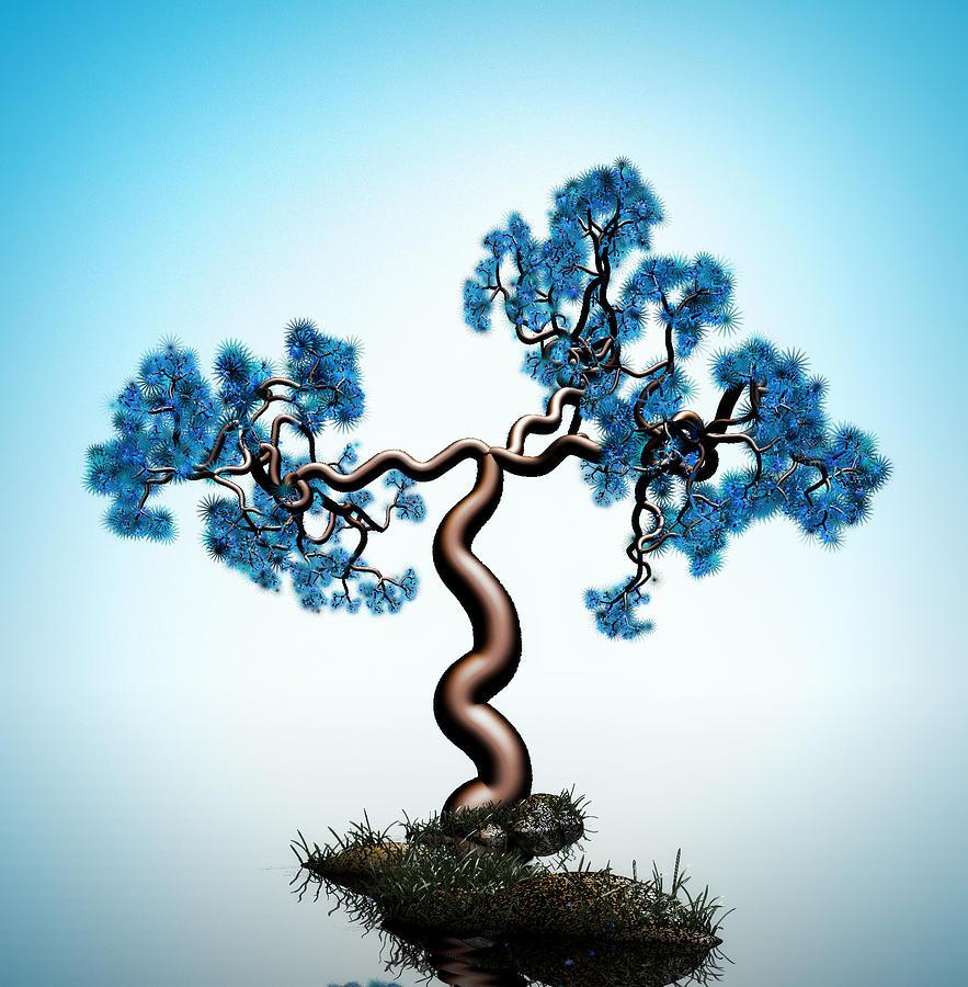 Blue Math  Tree Digital Art by GuoJun Pan