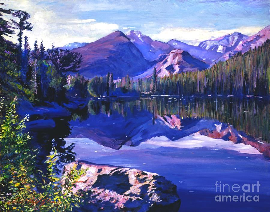 Lakes Painting - Blue Mirror Lake by David Lloyd Glover