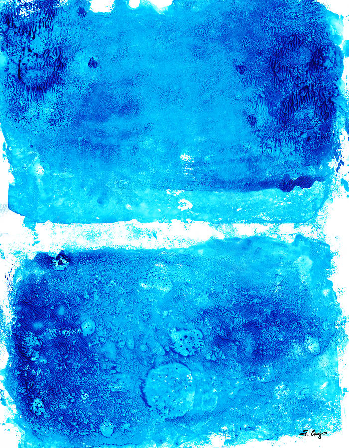 Blue Painting - Blue Modern Art - Two Pools - Sharon Cummings by Sharon Cummings