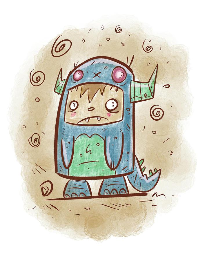 Monster Digital Art - Blue Monster Boy #2 by Cesar Diaz