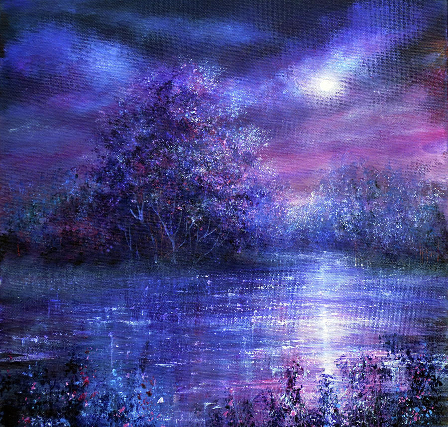 Hand Painted Painting - Blue Moon by Ann Marie Bone