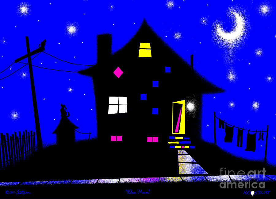 Fantasy Digital Art - Blue Moon by Cristophers Dream Artistry